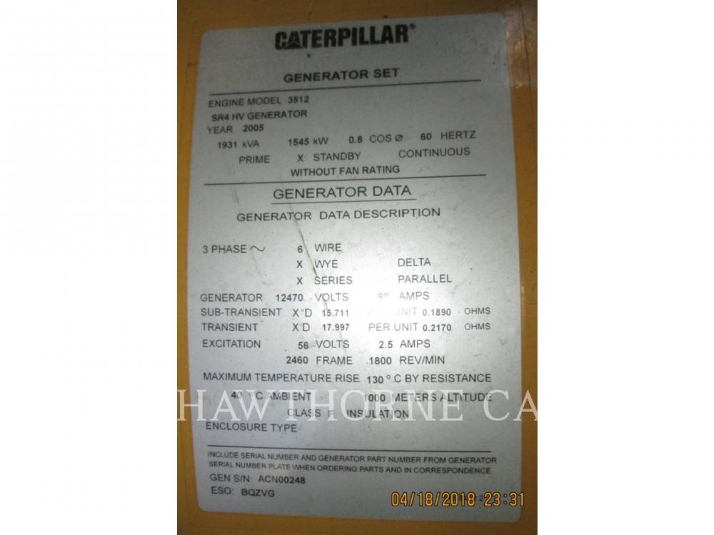 Detail photo of 2005 Caterpillar 3512B from Construction Equipment Guide