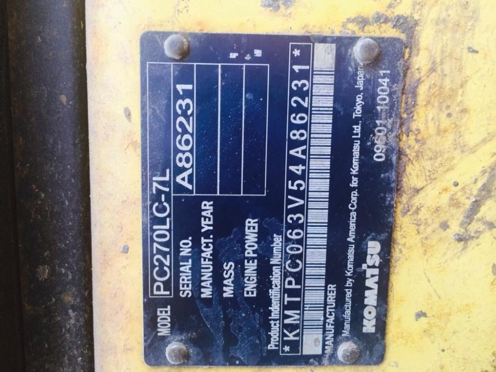 Detail photo of 2004 Komatsu PC270LC-7 from Construction Equipment Guide
