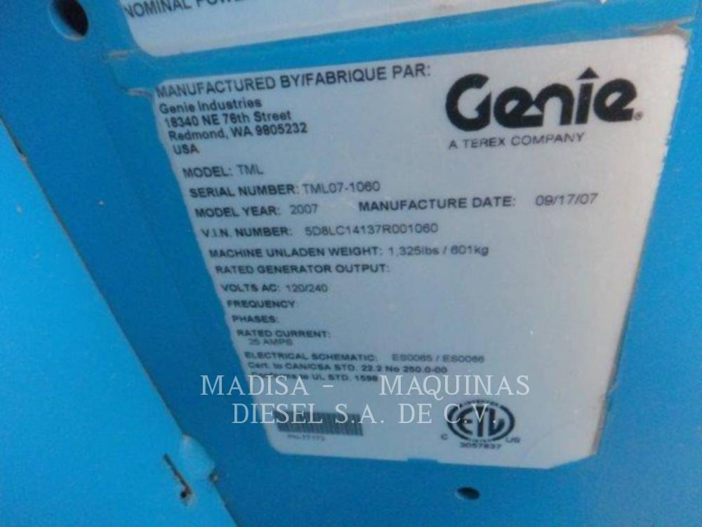 Detail photo of 2007 Genie TML4000N from Construction Equipment Guide