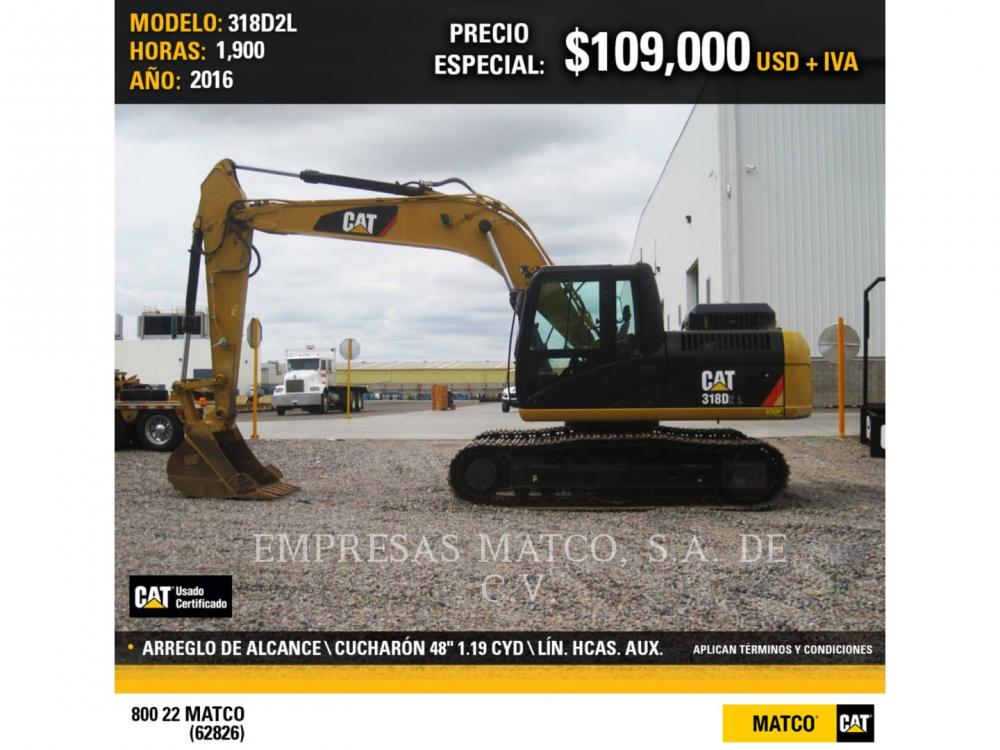 Detail photo of 2016 Caterpillar 318D from Construction Equipment Guide