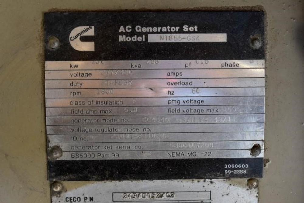 Detail photo of 1988 Cummins 230 KW from Construction Equipment Guide
